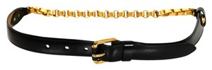 Louis Vuitton Louis Vuitton Black and Goldtone Belt Sz 75