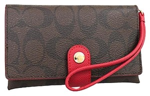 Coach F53975 Signature Phone Wallet Wristlet in Brown True Red