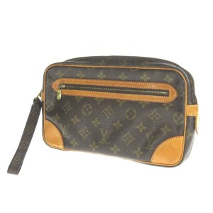 Louis Vuitton Marly Dragonne Second Handbags Wristlet in Brown
