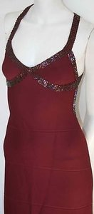 Hervé Leger Vintage Maroon Sequin Bandage Stretch Dress