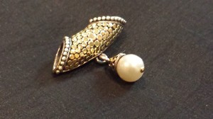 John Hardy Large dot 18k sterling silver and pearl slide enhancer