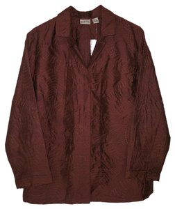 Chico's Silk Art To Wear Embroidered Dupioni Brown Jacket