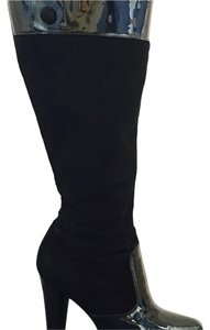 Via Spiga Patent Leather Suede Knee High Black Boots