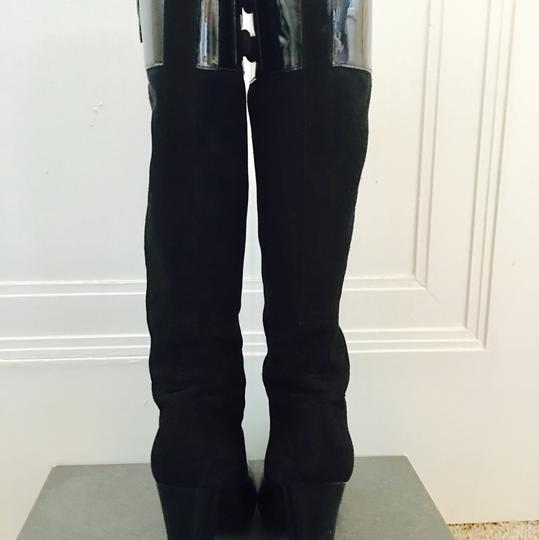 Via Spiga Patent Leather Suede Knee High Black Boots Image 2