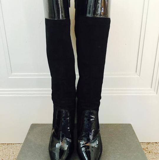 Via Spiga Patent Leather Suede Knee High Black Boots Image 3