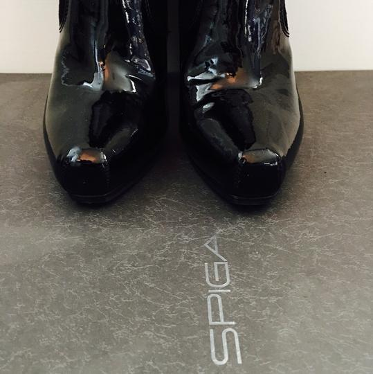 Via Spiga Patent Leather Suede Knee High Black Boots Image 4