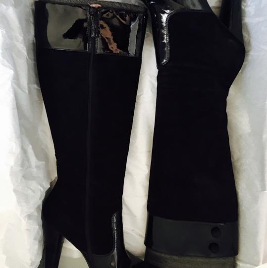 Via Spiga Patent Leather Suede Knee High Black Boots Image 6