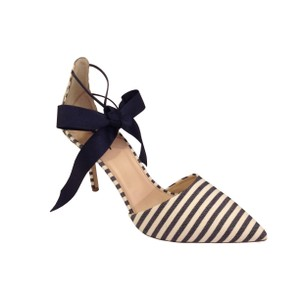 J.Crew Chic Ankle Ribbon Striped Navy Ivory Pumps