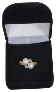 Other 14K Gold Plated Pearl & Diamond Ring - Size 6.5 - 3.5 Grams
