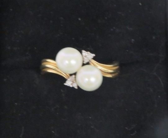 Other 14K Gold Plated Pearl & Diamond Ring - Size 6.5 - 3.5 Grams Image 1