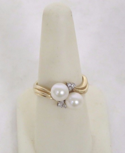 Other 14K Gold Plated Pearl & Diamond Ring - Size 6.5 - 3.5 Grams Image 2