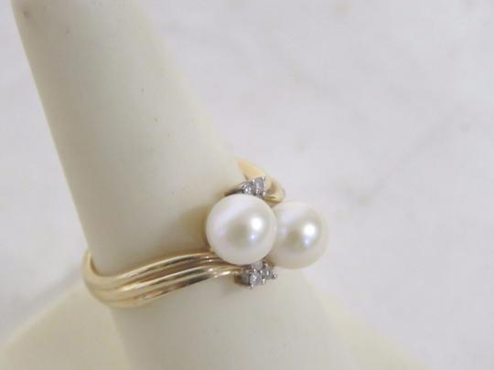 Other 14K Gold Plated Pearl & Diamond Ring - Size 6.5 - 3.5 Grams Image 3