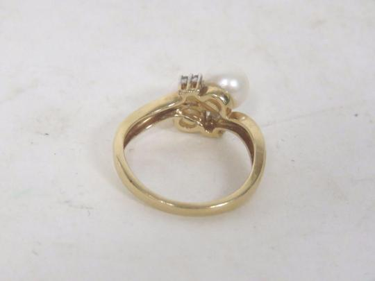 Other 14K Gold Plated Pearl & Diamond Ring - Size 6.5 - 3.5 Grams Image 4
