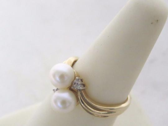 Other 14K Gold Plated Pearl & Diamond Ring - Size 6.5 - 3.5 Grams Image 5