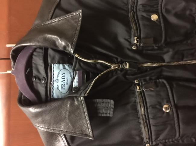 Prada Vintage Bomber Detachable Lining Silver Hardware black Leather Jacket