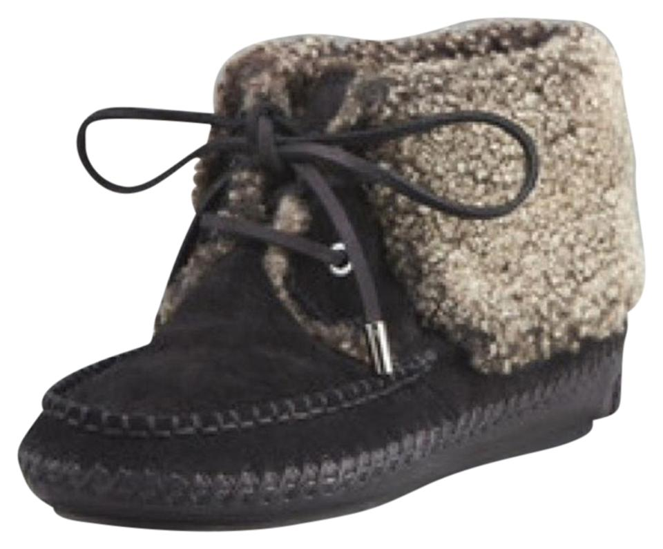 51665a19e56679 Tory Burch Black New Moccasin Shearling Boots Booties. Size  US 6 ...