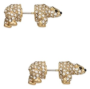 Kate Spade Kate Spade Cold Comforts Polar Bear Crystal & Gold Stud Earrings