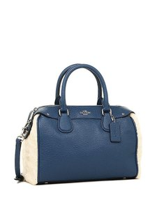 Coach Leather Bennett Blue Satchel in Slate/Natural