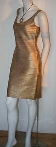 Hervé Leger Herve Metallic Gold Dress
