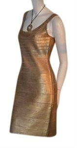 Hervé Leger Gold Woodgrain Stretch Cocktail Dress