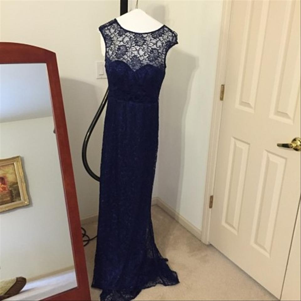 Theia Indigo Cap Sleeve Belted Metallic Lace Evening Gown Long ...
