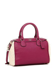 Coach Leather 36689 Cranberry Satchel in Cranberry/Natural