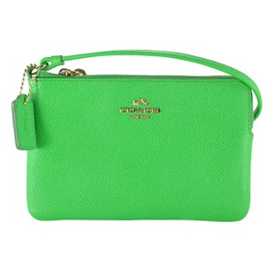 Coach Wrisstlet Leather Wristlet in GREEN