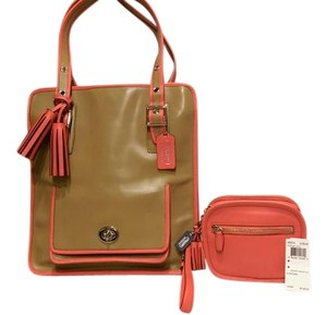 Coach Hadley Legacy Archive Leather Tote in khaki and coral