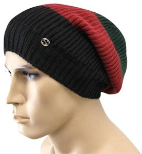 Gucci Gucci Wool Beanie Hat Interclocking G Green/Red/Black 310777 3160