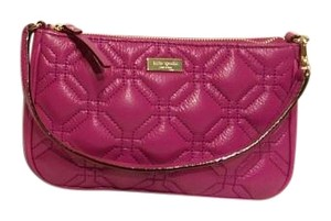 Kate Spade Quilted Leather Keyfob Wristlet in pink