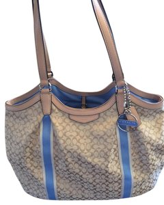 Coach Patent Leather Canvas Monogram Tote in brown & light blue