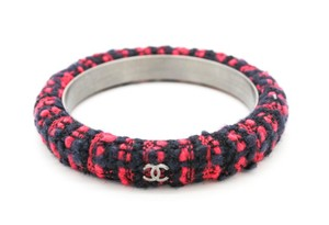 Chanel #9575 Red tweed Silver CC Cuff Bangle Bracelet