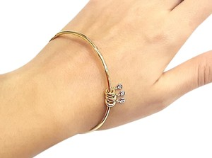 Roberto Coin Bangle Bracelet with Diamond Charms 18k yellow gold