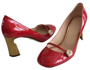 8d390e658 Gucci Arielle Mary Jane Patent Leather Pearl Gg Red Pumps
