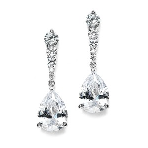 Silver/Rhodium Brilliant Pear Drop Crystal Earrings
