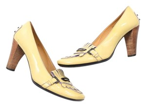 Tod's Patent Leather Loafer-detail Rubber Yellow Pumps