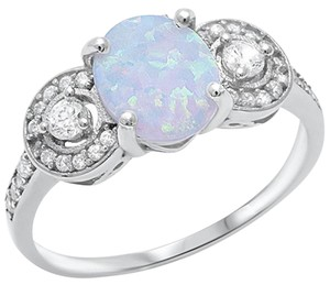 9.2.5 gorgeous Opal and white sapphire royal cocktail ring size 8