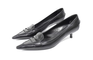 Prada Pointy Toe Loafer-style Black Pumps