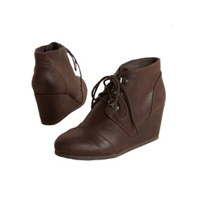 SODA Wedge Ankle Lace Chocolate Brushed Brown Boots