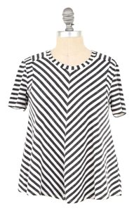 Rebecca Taylor Soft Jersey Chevron Striped T Shirt White/Gray