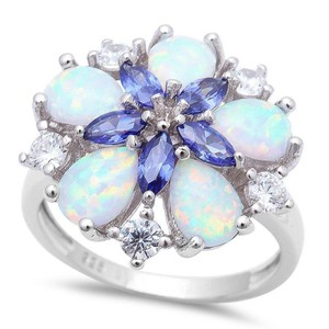 9.2.5 Gorgeous opal and tanzanite flower cocktail ring size 7