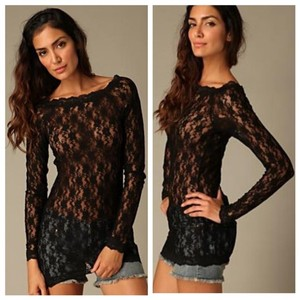 Free People Lace Top Black