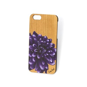 Case Yard NEW Cherry Wood iPhone Case with Purple Dahlia Design, iPhone 7