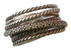 David Yurman Crossover Wide Ring With Diamonds - size 5.5