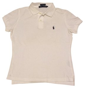 Ralph Lauren Skinny Embroidered Classic Preppy T Shirt WHITE NAVY BLUE