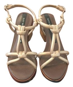 Matt Bernson Gold Cork Gold Strappy Brown Sandals
