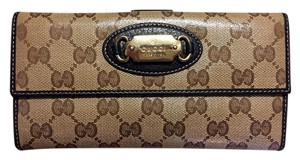 Gucci Gucci Crystal Canvas GG Guccissima W/Coin Continental Clutch Wallet