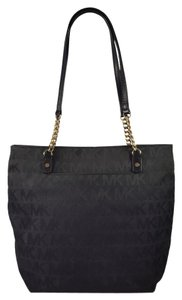 Michael Kors Signature Jacquard Gold Hardware Chain Logo Tote in Black