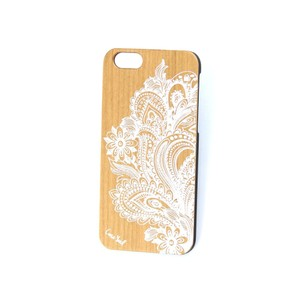 Case Yard Cherry Wood White iPhone Case with Paisley Flower Design, iPhone 7