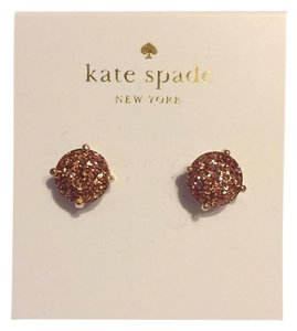 Kate Spade Nwt Kate Spade Pink Gold Glitter Sparkle Round Stud Pierced Earrings